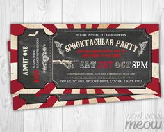 Halloween Invitation Horror Circus Party Printable INSTANT DOWNLOAD Spooktacular Ticket Tag Scary Chalk Invite Personalize Editable Print