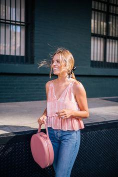 Gal Meets Glam Velvet Blush - Apiece Apart top, La Vie Rebecca Taylor jeans c/o, Mansur Gavriel bag & Valentino Pumps