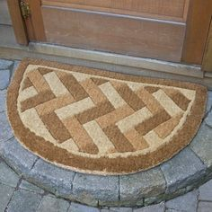 "Brick Weave Design Arch Coir Mat - 39"" x 24"" . $59.95. This ultra-thick coco doormat is very durable and designed to last for years. The Brick Weave Half Round Coir Mat will instantly liven up your entryway and add charm to your home. Made of durable coir fibers harvested from coconuts husks. 100% biodegradable and compost friendly after its usable life. Mildew-resistant. Durable bristles trap dirt and absorb moisture. Design is woven into the coir fiber, not ..."