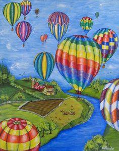 Balloons by Jill Alexander ~ acrylic on canvas ~ hot air balloons Balloon Painting, Vibrant Colors, Colours, Around The World In 80 Days, Hot Air Balloon, Fine Art America, Ballons, Aim High, Wall Art