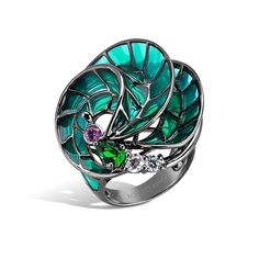 Kaleidoscope - Amethyst and Emerald Seascape Ring #topazusa #robertobravo #inspiring #jewelry #silver #rings