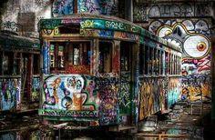 A former Sydney tram now a sad billboard for graffiti Abandoned Property, Old Building, Billboard, Life Is Good, Places To Go, Graffiti, Sad, Urban, Sydney