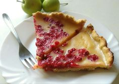Gluten-free, Dairy-free raspberry and red currant cream pie on oatmeal pastry.
