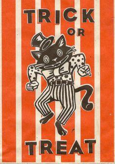 Trick or Treat - vintage dancing black cat Halloween graphic
