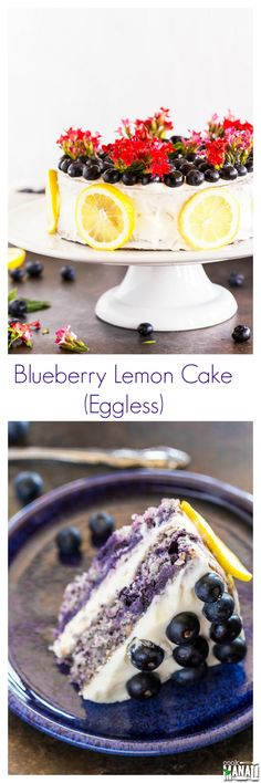 Eggless Blueberry Cake topped with Lemon Cream Cheese frosting is the perfect cake to celebrate summers! Find the recipe on www.cookwithmanali.com
