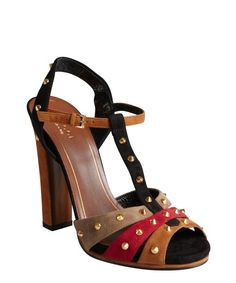 Gucci raspberry suede 'Jacquelyne' studded t-strap high heel sandals