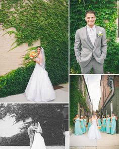 Love the ivy with the teal dresses and orange bouquets... also they have All Stars on underneath! My dream wedding!