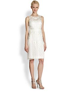 Sue Wong - Floral-Ribbon Sheath Dress