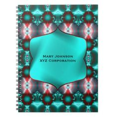Ornate Teal Red Fractal abstract notebook #zazzle #gifts #personalized