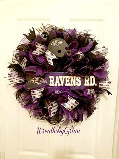 Are you ready for some Football???   Baltimore Ravens Wreath; Baltimore Ravens Football; Baltimore Ravens Man Cave; Baltimore Weddings; Baltimore Ravens Gifts; Football decorations; Football Gifts; Baltimore Maryland