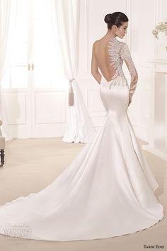 tarik ediz 2014 bridal collection sweetheart neckline single long sleeves mermaid wedding dress yaprak b