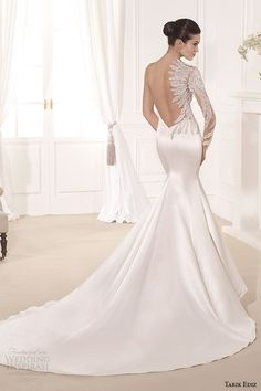 beautiful details on tarik ediz mermaid #WeddingDress w/ sweetheart neckline, single long sleeve