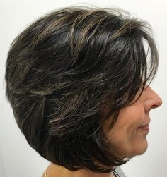 Layered+Brunette+Bob+For+Mature+Women