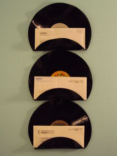 I think this is cool... and I think I can actually make this myself!   Rock n Roll Music Lover Vinyl Record Mail Holders Office Mail Organizer Set of 3. $29.00, via Etsy. #home #decor