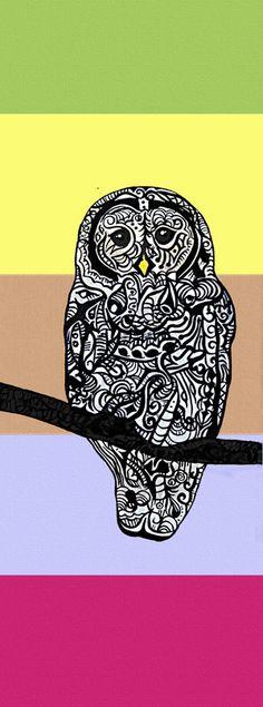 "Owl Zentangle Art Print, Strix varia (Barred Owl) 4.5 x11"". $25.00, via Etsy."