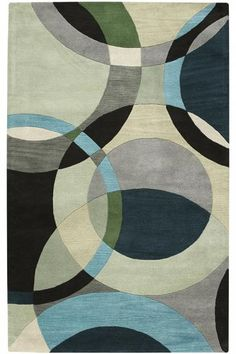 Warm up your bedroom with the beautiful Artistic Weavers Area Rug. This rug features an abstract motif, delivering a unique character. It has a wool design, delivering additional comfort and thickness. With materials known to have low VOC emissi Circle Rug, Geometric Circle, Geometric Rug, Contemporary Area Rugs, Modern Rugs, Modern Prints, Modern Decor, Aqua Area Rug, Square Rugs