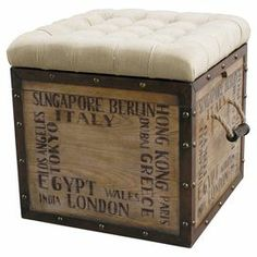 """Cube-shaped ottoman with a tufted cushion top and typographic detailing.  Product: OttomanConstruction Material: Hardwood, polyester, metal and foamColor: Off-white and naturalFeatures:  Removable upholstered seat with tray on reverse sideInside storageTwo handlesStencil patternDimensions: 22"""" H x 20"""" W x 20"""" D"""