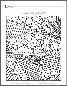 abstract colouring page