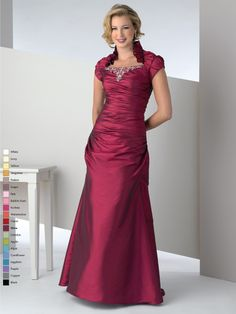 Modest gown with a ruffled Queen Anne neckline