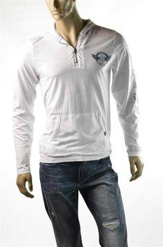 Buffalo T-shirt David Bitton L/S Knit Hood Newlin White Hoodie Shirt Sz M New