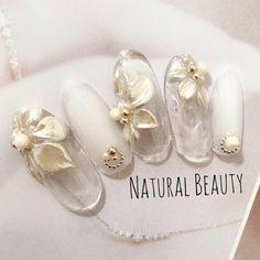 Gel Nail Art, Gel Nails, Manicure, Asian Nails, Dream Nails, Bridal Nails, Gorgeous Nails, White Nails, Nail Arts