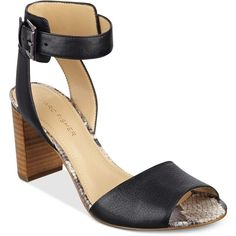 Marc Fisher Genette Ankle-Strap Sandals ($89) ❤ liked on Polyvore featuring shoes, sandals, black, black ankle strap shoes, ankle wrap sandals, ankle tie shoes, ankle strap sandals and ankle wrap shoes