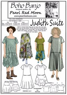 Judith Suite pdf sewing pattern, 3 SMALL SIZES