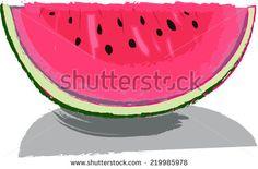 Big red slice of watermelon - stock vector