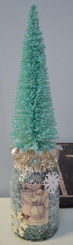 Christmas Altered Ball Jar Bottle. Vintage by KellyDealDesigns, $30.00
