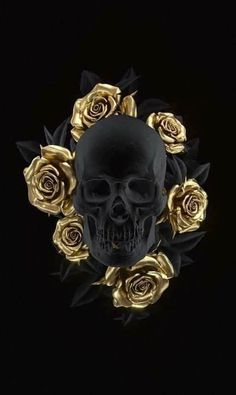 Happy Birthday Skull Images Awesome Skull Art by Uk Artist Billelis Black and Gold Skull Gold Wallpaper, Trendy Wallpaper, Iphone Wallpaper, Pretty Wallpapers, Colorful Wallpaper, Flower Wallpaper, Gold Skull, Black Skulls, Bijou Geek