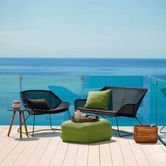 Shop Breeze 2 Seater Lounge Sofa by Cane-line. Scandinavian Minimalist Indoor and Outdoor Garden and Patio Furniture. Dining and Lounge Chairs, Sofas, Tables, Cushions. Outdoor Sofa, Modern Outdoor Furniture, Outdoor Seating Areas, Outdoor Spaces, Outdoor Living, Outdoor Decor, Lounge Chair Cushions, Scatter Cushions, Weathered Furniture