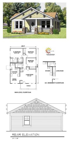 Cottage Style COOL House Plan ID: chp-27990 | Total Living Area: 1064 sq. ft., 3 bedrooms & 2 bathrooms. #houseplan #cottageplan