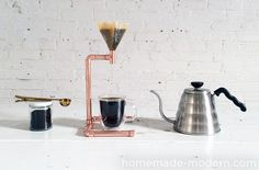 DIY Copper Coffee Maker.  learn how to make this pour over coffee maker out of copper pipe.