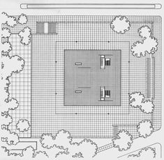 Plans of Architecture (Mies van der Rohe, Neue Nationalgalerie, 1968,...)
