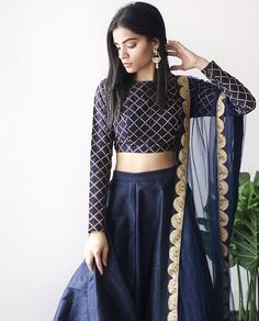 indian fashion Sari -- Click Visit link to see Saris, Indian Lehenga, Black Lehenga, Lehenga Designs, Indian Gowns Dresses, Pakistani Dresses, Indian Attire, Indian Wear, Diwali Outfits