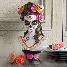 The Day of the Dead ritual may last just a short time, but you'll celebrate the brilliant imagery and color of our Day of the Dead Bust year round. Halloween Mantel, Halloween 2015, Holidays Halloween, Halloween Crafts, Halloween Party, Halloween Decorations, Haunted Halloween, Halloween Ideas, Halloween Costumes