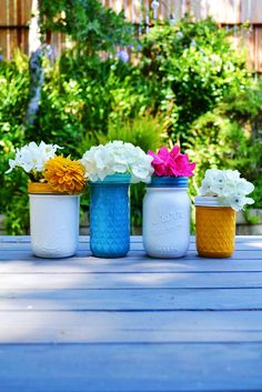 Quick and Easy Painted Mason Jar Vases - craft - Little Miss Momma