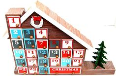 Amazon.com: LED Wooden Advent Calendar Christmas Advent Calender Warm LED Lights House: Home & Kitchen