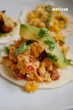 Breakfast taco, con huevos rancheros (same as in NYC, Nolita, Tacombi)