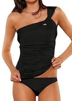 836e0782e50 Aranmei Women's One Shoulder Ruched Two Piece Swimsuit Two Piece Swimsuits, Women  Swimsuits, Modest