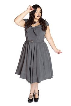 Domino Dollhouse - Plus Size Clothing: Bow Baby Dress in Grey