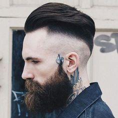 Razor Undercut Fade + Slicked Back Hair + Thick Beard Best Undercut Hairstyles, Undercut Styles, Undercut Men, Asian Men Hairstyle, Beard Styles, Hairstyles Haircuts, Trendy Hairstyles, Slick Back Undercut, Best Short Haircuts