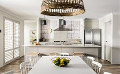 The casual dining overlooks the galley style kitchen