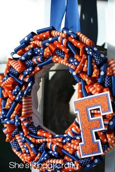 DIY Football wreath. Make with your kids school colors, your alma mater, or your favorite NFL team.