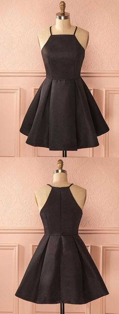 simple balck homecoming dresses,little black dresses,satin homecoming dresses,spaghetti straps