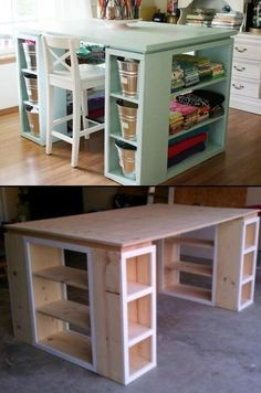 38 Design ideas for newer kitchens with storage solutions When st … - Diy Möbel Sewing Room Furniture, Sewing Rooms, Diy Furniture, Office Furniture, Sewing Room Design, Craft Room Design, Sewing Room Organization, Craft Room Storage, Craft Storage Solutions