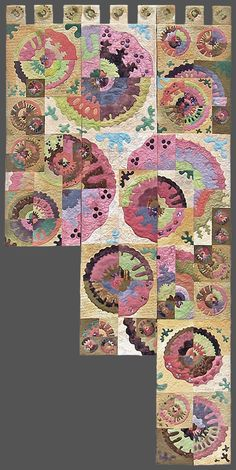 'The Gaps I Mean'  Large stair hanging inspired by Mending Wall by Robert Frost. Winner amateur award - large innovative - Festival of Quilts 2006