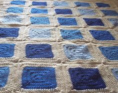 Crochet Granny Square Afghan Lap Blanket by ThePrairieCottage