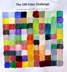 Lessons from the Art Room: Color Mixing Challenge: Mix 100 Different Colors Kindergarten Art Lessons, Art Lessons For Kids, Art Lessons Elementary, Line Art Lesson, Art Lesson Plans, Primary School Art, Middle School Art Projects, Art Simple, 8th Grade Art