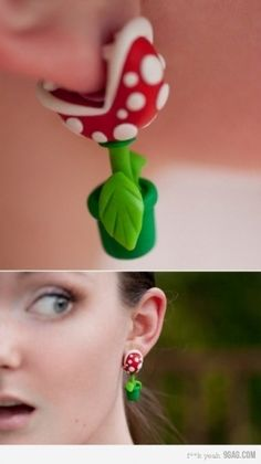Flowers from Super Mario Bros. Earrings... Adorable!!